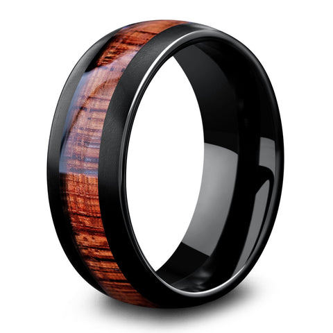 Mens Black Tungsten Wooden Wedding Ring - 8mm