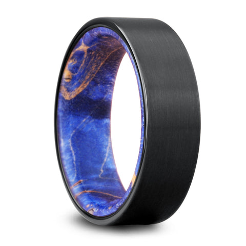 Black Ring With a Blue Wooden Interior | Galaxy Ring