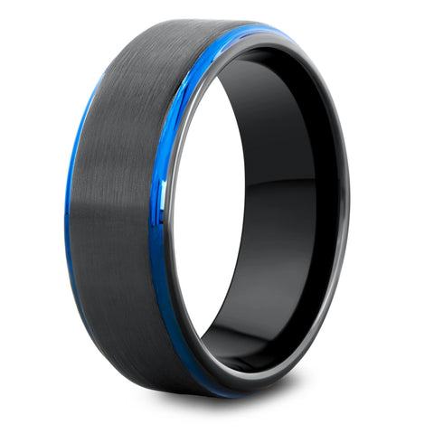 Men's Black and Blue Wedding Ring