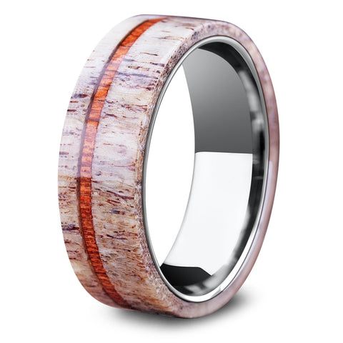 Michigan Deer Antler Ring With Wood Stripe