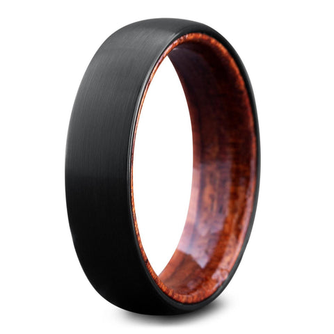 Men's Black Wedding Rings With Wood Interior