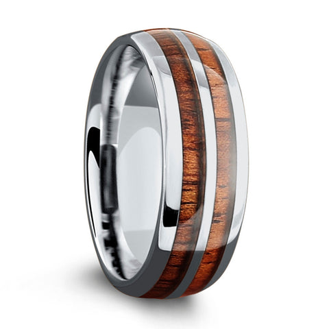 Men's Silver Wooden Barrel Ring (8mm)