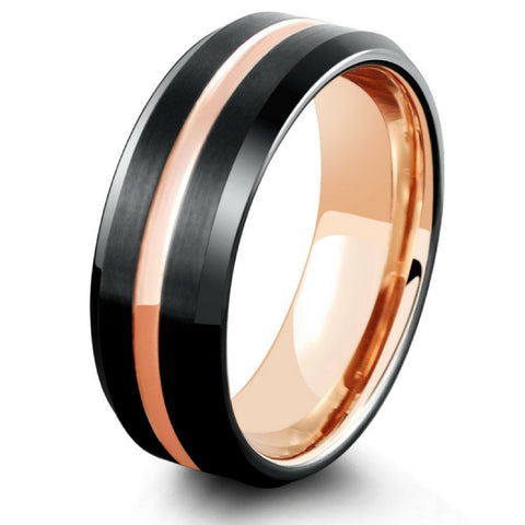 mens black tungsten wedding ring with plated rose gold - Mens Rose Gold Wedding Rings