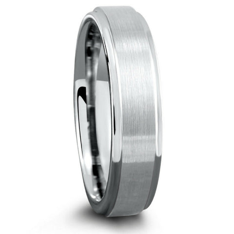 6mm Tungsten Wedding Band With Matte Center and Step Down Edges