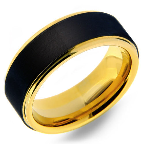 Mens 8mm Tungsten Carbide Ring With Black Matte Finish U0026 Yellow Gold