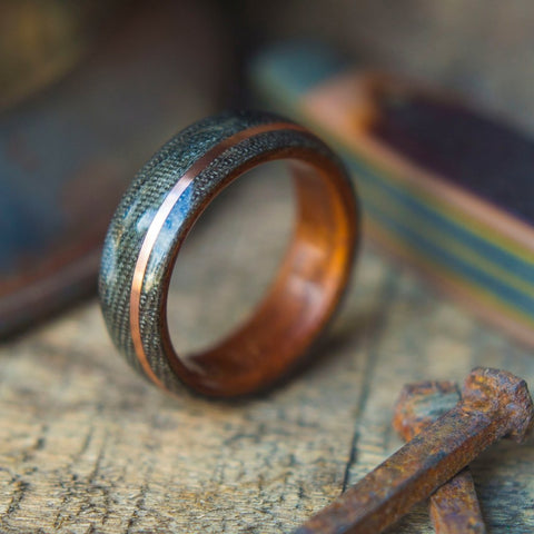 Mens Bentwood Wedding Band - Koa wood With Copper Stripe and Green Denim Micarta