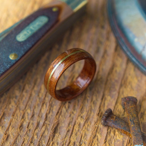 Mens Bentwood Wedding Ring Crafted Out of Koa Wood and Inlaid With Brass