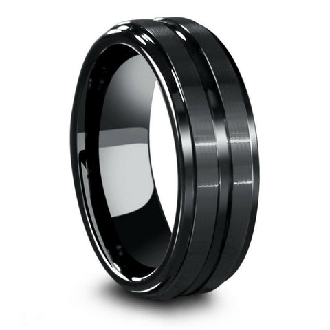 Mens Black Ceramic Wedding Ring