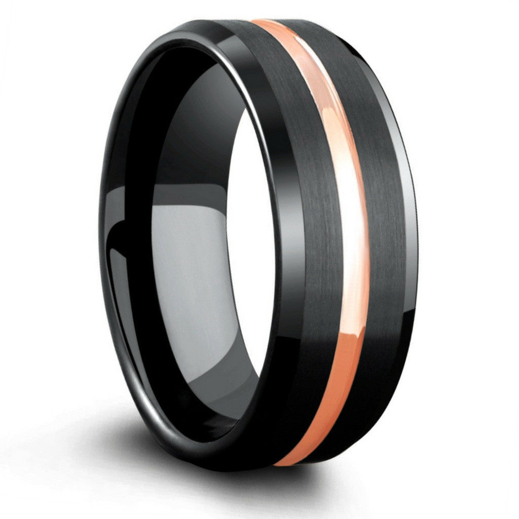 8mm Mens Black Tungsten Wedding Band With Rose Gold Center €� Northern Royal Llc: Black Metal Wedding Bands At Reisefeber.org