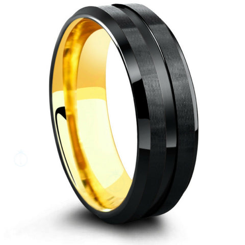 7mm Black Tungsten Wedding Band With 18K Yellow Gold Interior