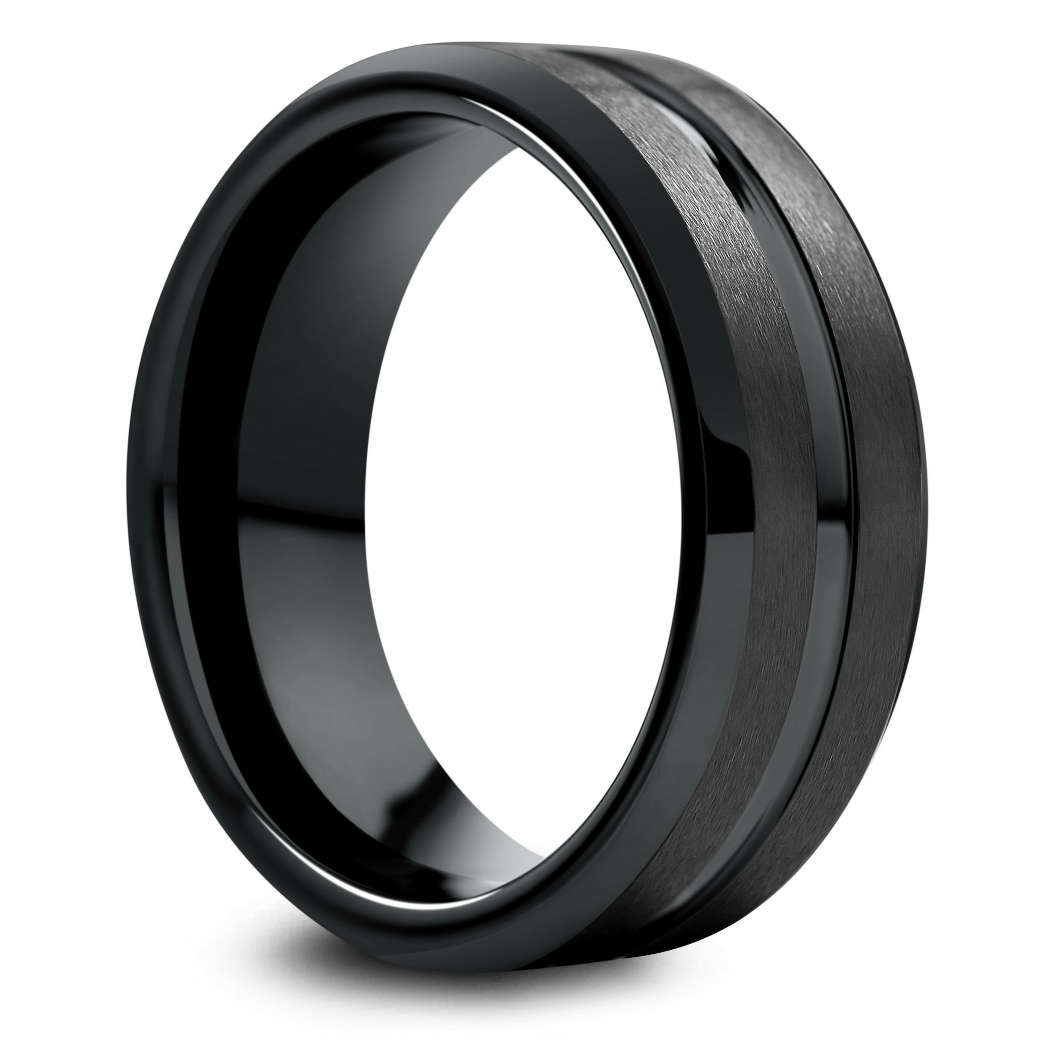 Titanium Base w//Polished Black Ceramic Center Beveled 8mm Band