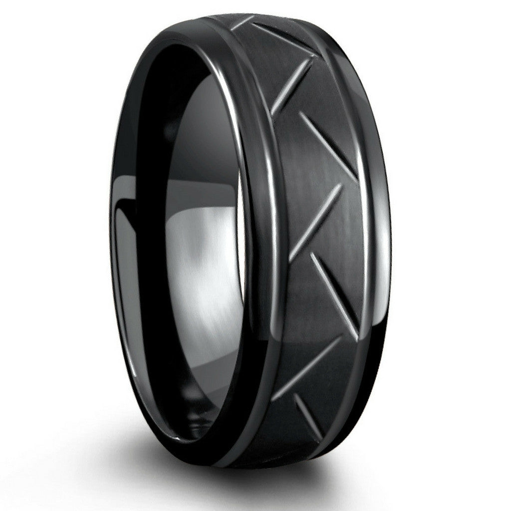 8mm black carved tungsten ring - northern royal – northernroyal