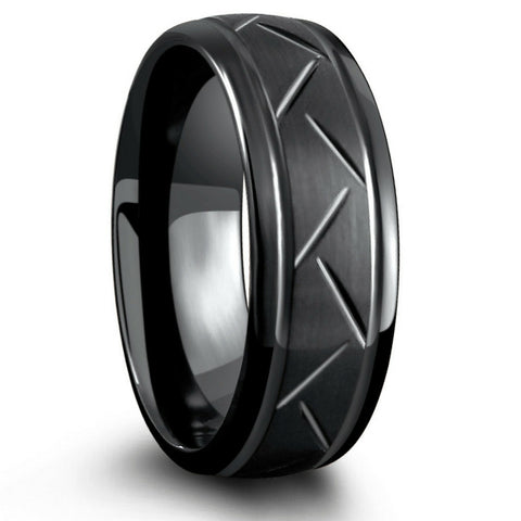 Mens 8mm Black Carved Tungsten Wedding Ring
