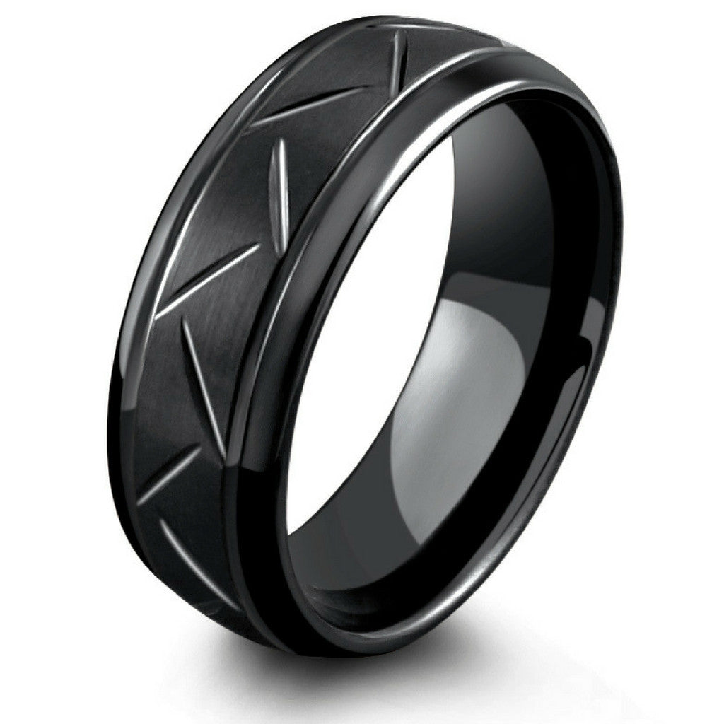 8mm black carved tungsten ring northern royal northern. Black Bedroom Furniture Sets. Home Design Ideas