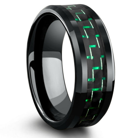 8mm Black Tungsten Wedding Band With Green & Black Carbon Fiber Inlay