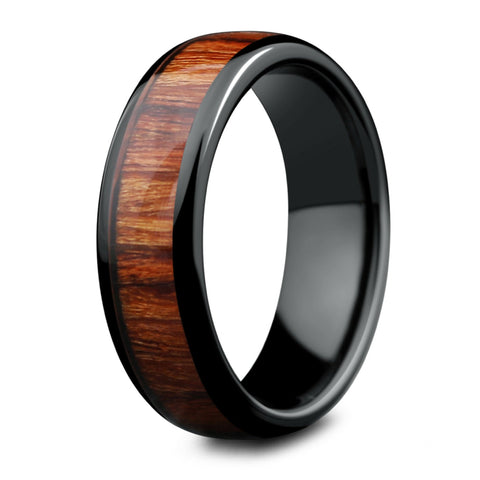 Mens Black Wood Wedding Ring - 6mm Width