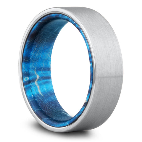 Mens Silver Wedding Band With a Blue Wood Interior