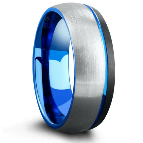 Silver blue wedding rings