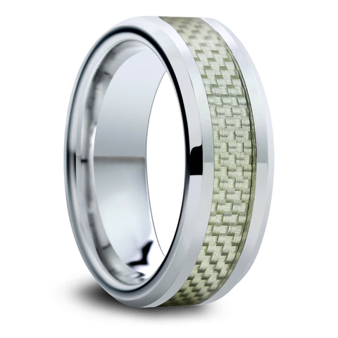 Mens Tungsten Wedding Bands With Gray Carbon Fiber Inlay