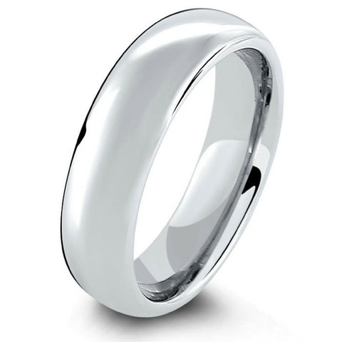 Widths 6mm-8mm Classic Silver Polished Tungsten Wedding Band