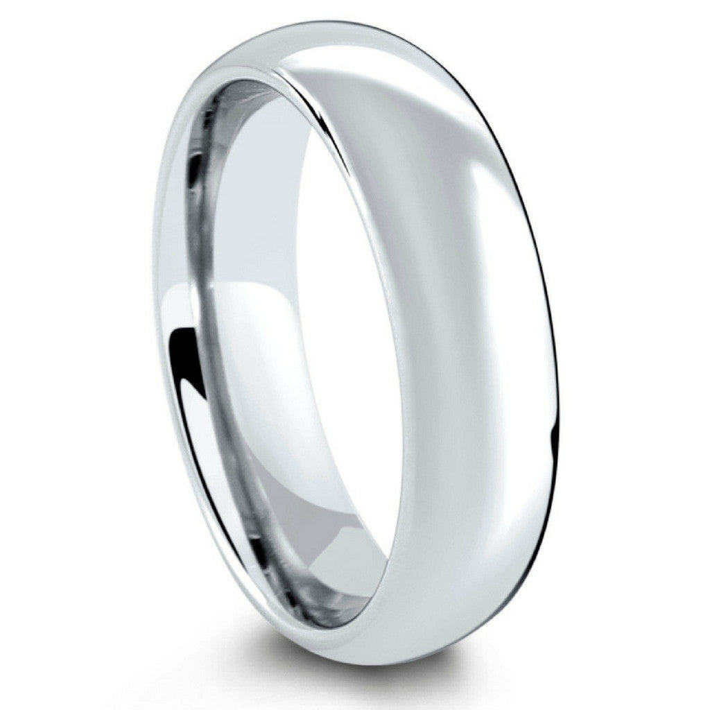 Mens Silver Classic Tungsten Wedding Ring   Widths 6mm 8mm