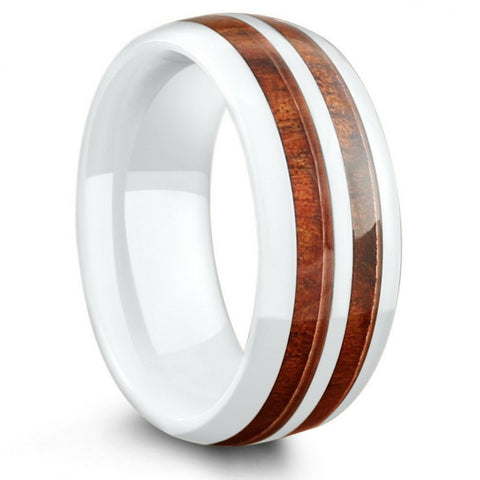 8mm White Ceramic Koa Wood Inlay Wedding Band Center Stripe