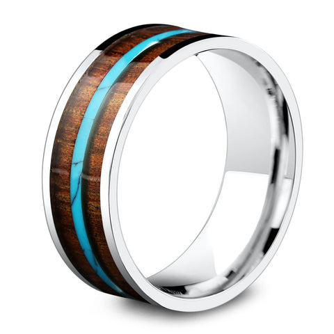 Mens Wooden Wedding Ring With Turquoise Stripe