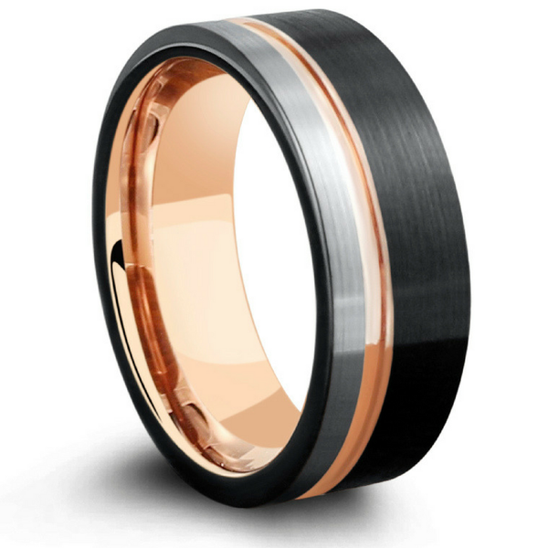 mens three tone tungsten wedding band northernroyal. Black Bedroom Furniture Sets. Home Design Ideas