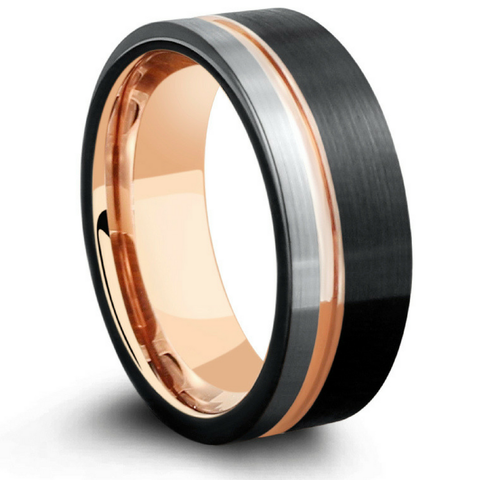 Mens Three Tone Tungsten Wedding Band With Pipe Cut Design