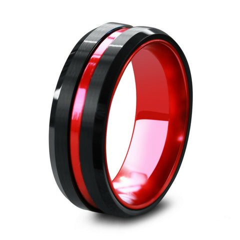 The Mariner - Modern Black & Red Hybrid Ring