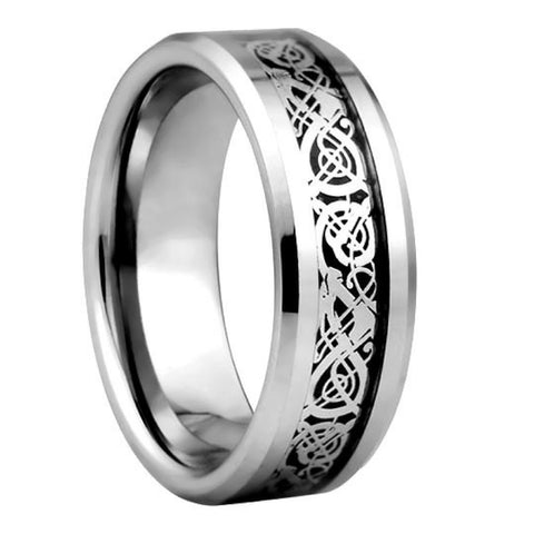 Mens Titanium Celtic Wedding Ring With Black Carbon Fiber Inlay