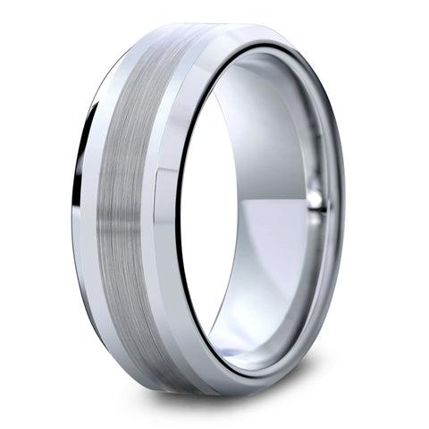 Mens Silver Tungsten Wedding Ring With Brushed Center