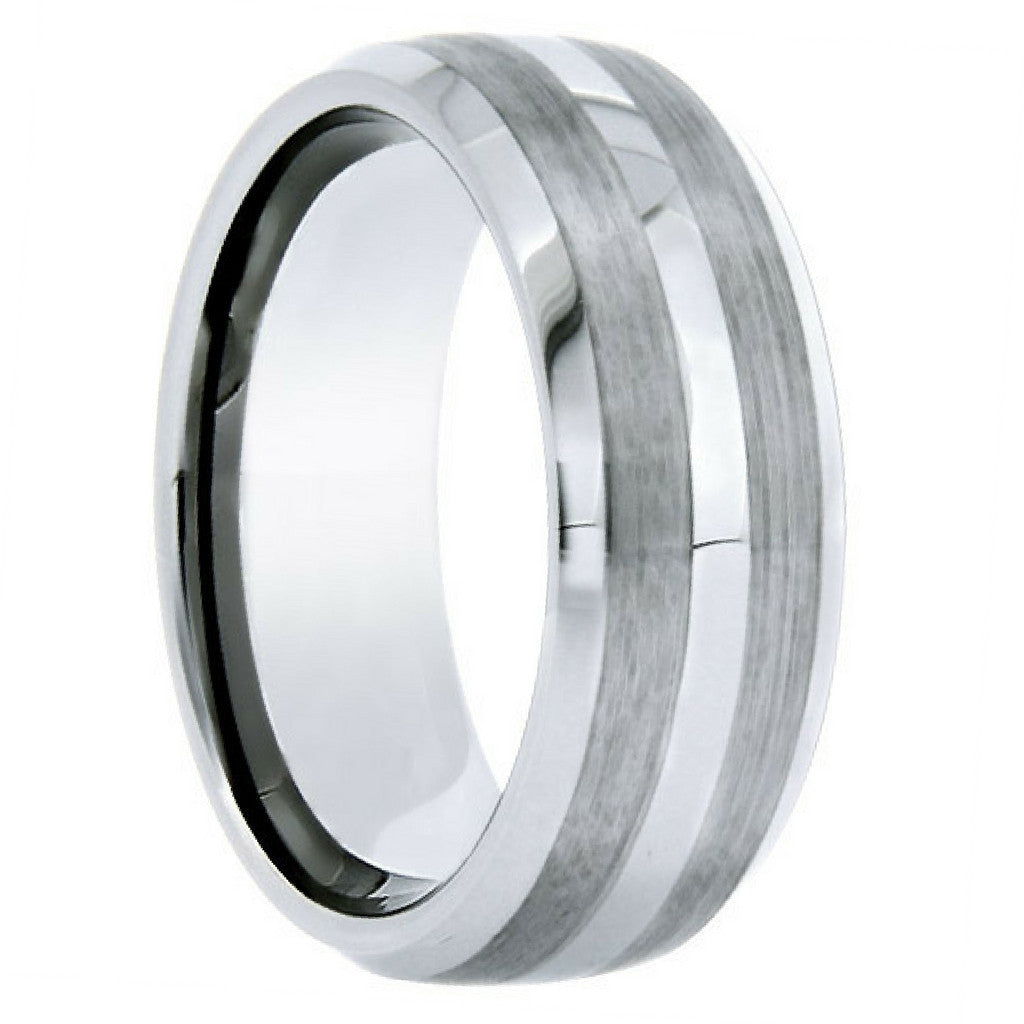 tungsten ring with polished stripe and satin double row - northern