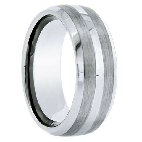 8mm Mens Silver Tungsten Wedding Ring With Satin Double Stripes