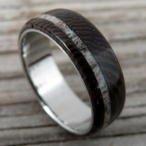 Mens Titanium Wenge Wood Ring With Deer Antler Stripe