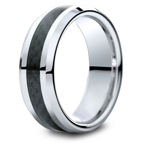 Mens Tungsten Wedding Band With a Black Carbon Fiber Inlay
