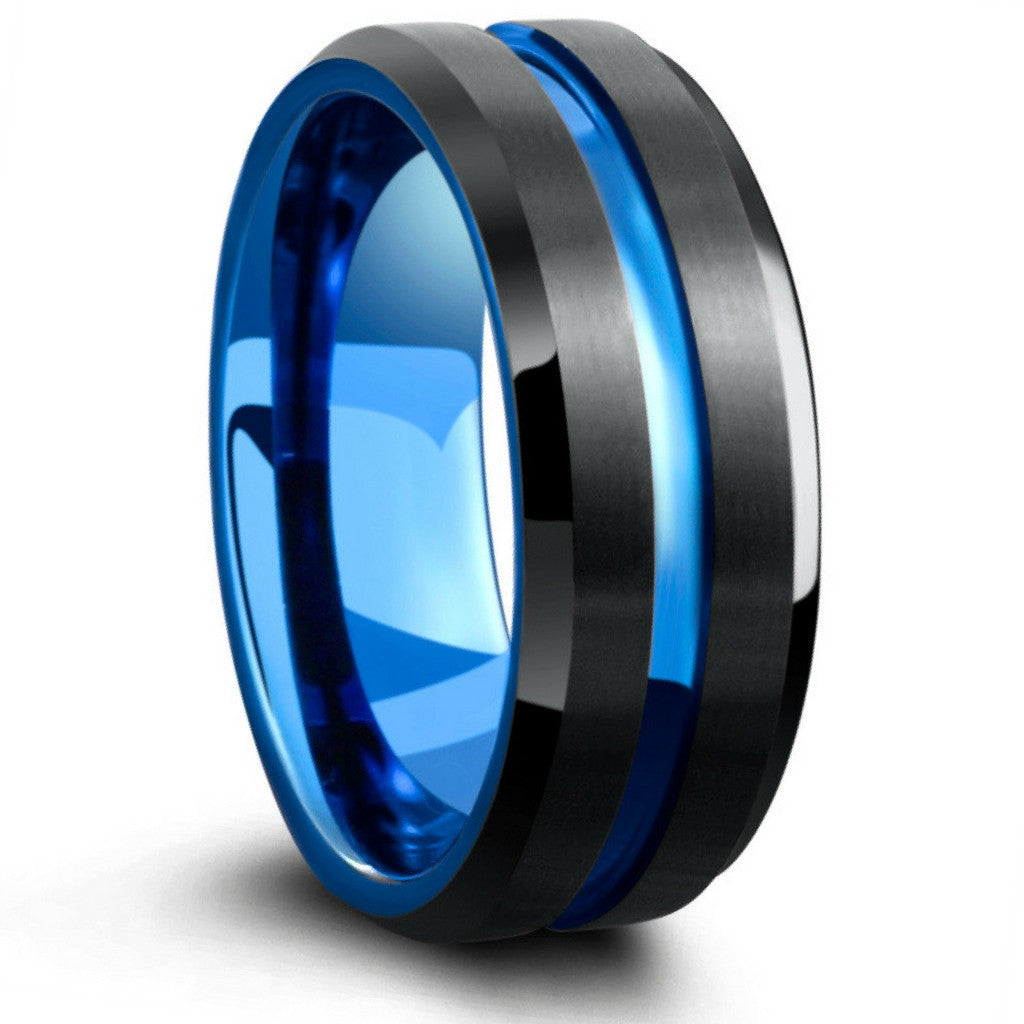 mens tungsten wedding band with carved blue channel two tone - Black And Blue Wedding Rings