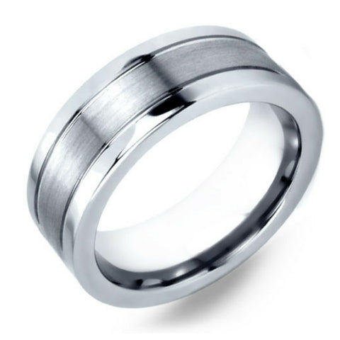 Mens Silver Tungsten Wedding Band With Pipe Cut Design