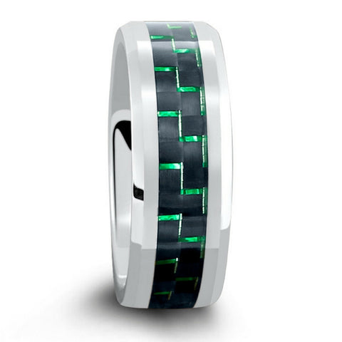 8mm Mens Silver Tungsten Wedding Band With Green & Black Carbon Fiber Inlay