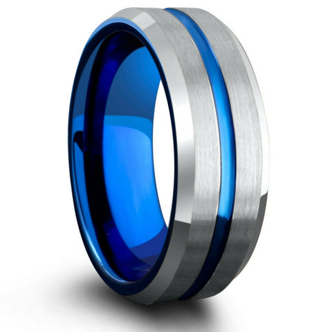 mens silver blue tungsten wedding ring - Blue Wedding Ring