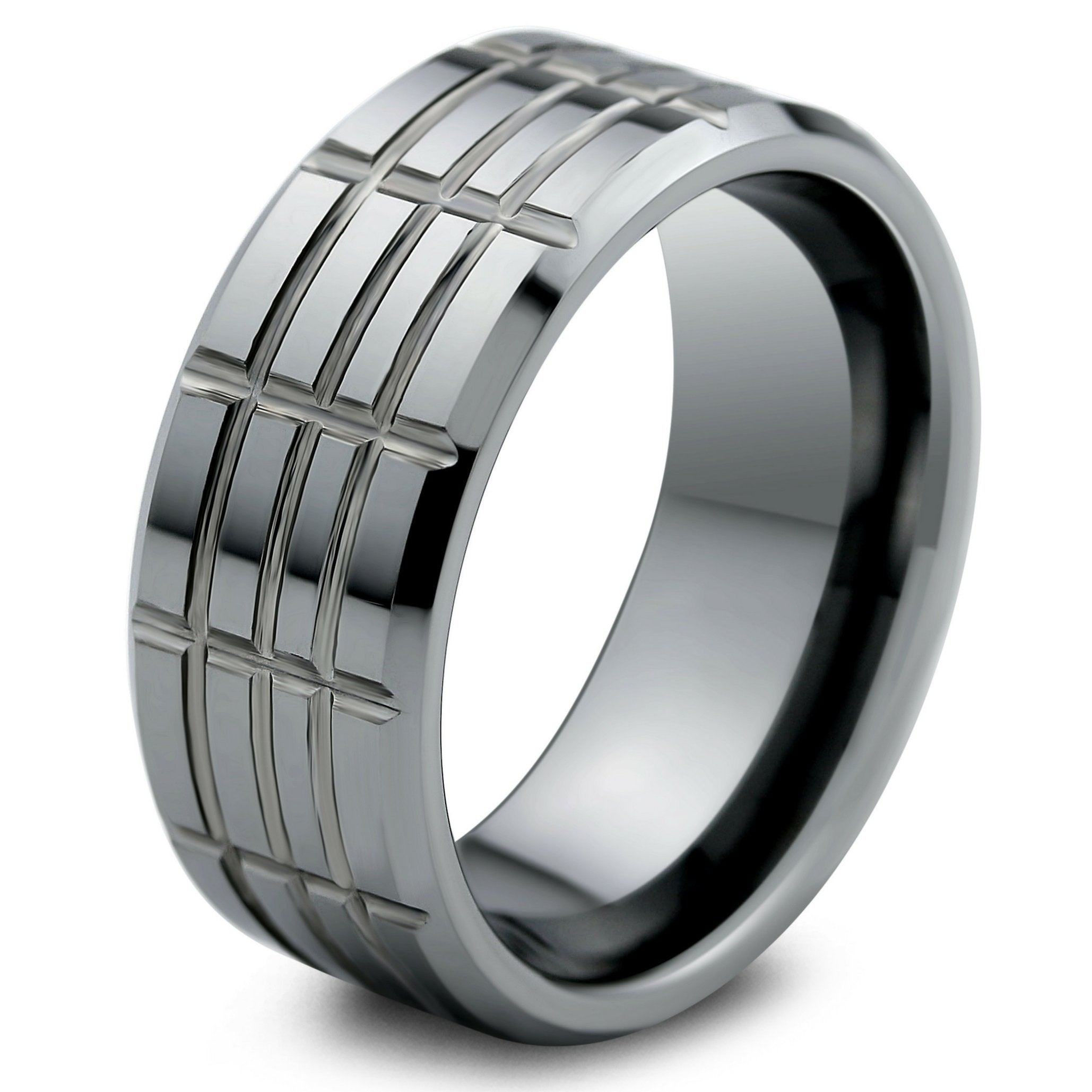 Mens Unique Wedding Bands.Slotted Groove Mens Tungsten Wedding Band
