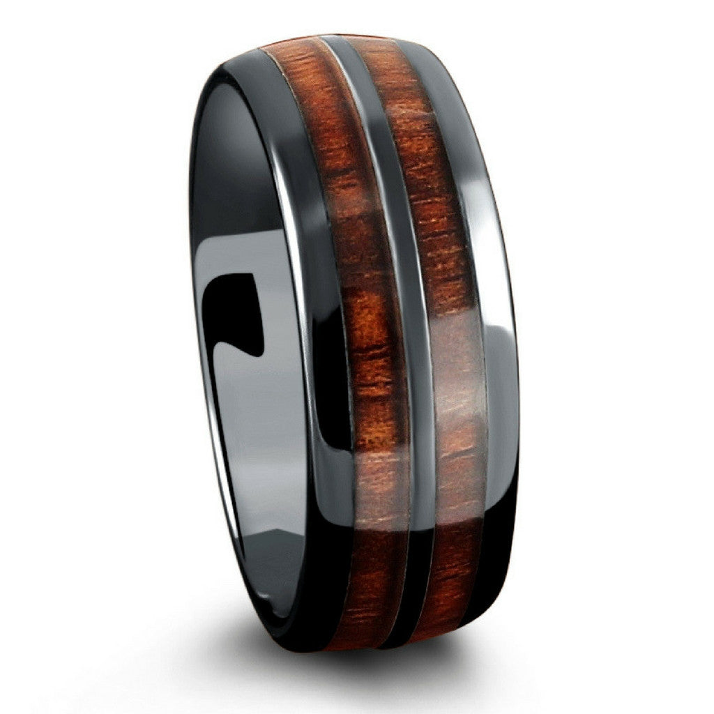 Barrel Ceramic Koa Wood Ring Northern Royal Llc