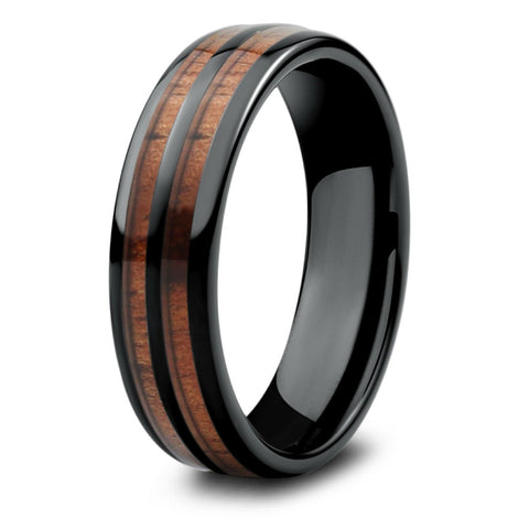 6mm - Mens Vintage Wood Barrel Wedding Ring