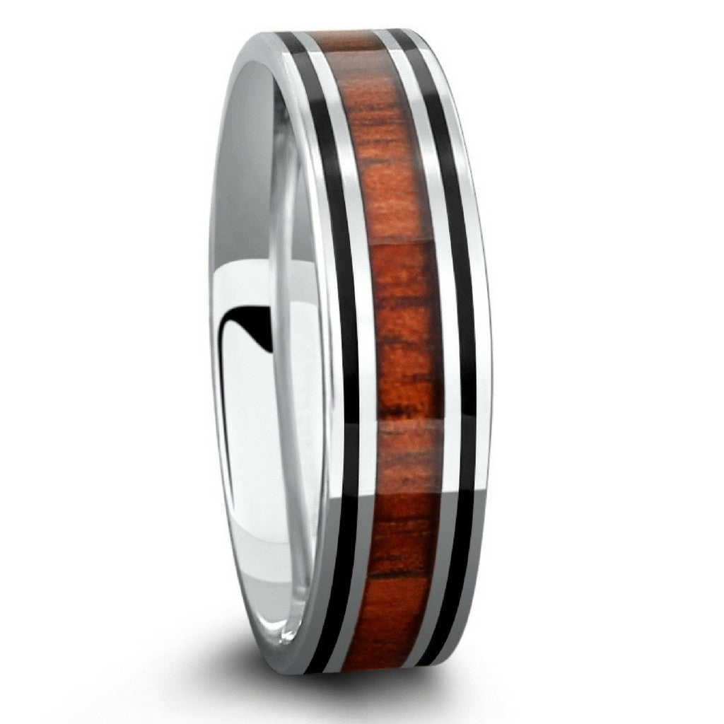 Mens Tungsten Wood Wedding Ring with Double Black Lines