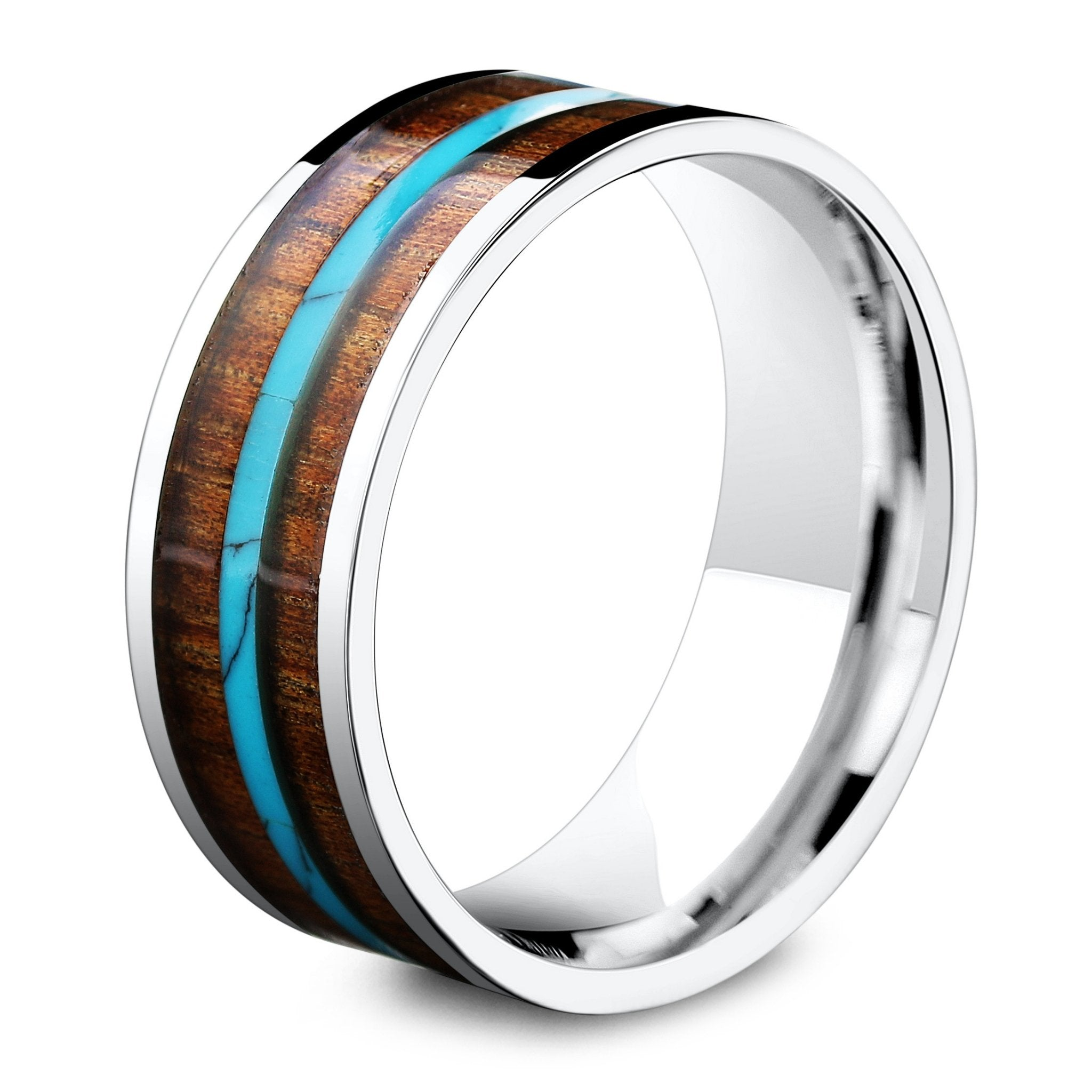 8mm Handcrafted Koa Wood Ring With A Beautiful Turquois Northern