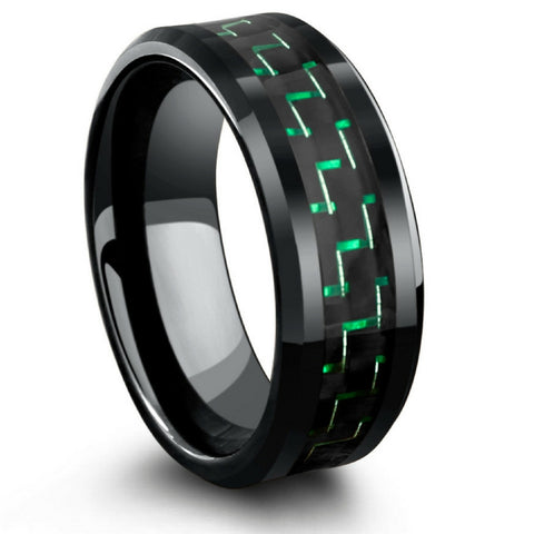 Mens Black High Tech Ceramic Wedding Band With Green & Black Carbon Fiber Inlay