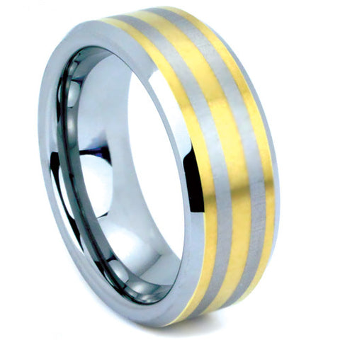 Mens yellow gold tungsten carbide wedding band with beveled edges