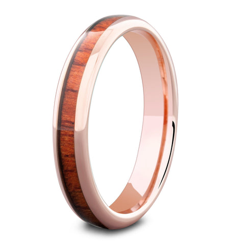 Womens Rose Gold Wooden Wedding Band
