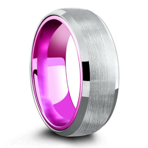 Hybrid Aluminum And Tungsten Wedding Ring - Amethyst