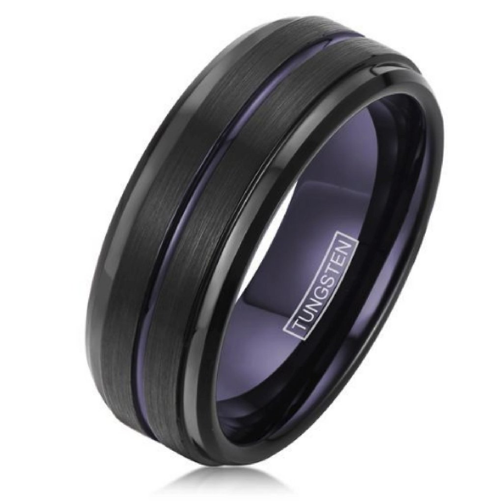 Mens Tungsten Wedding Ring With Electric Purple Northern